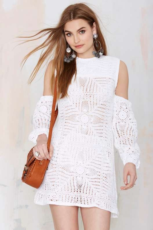 crochet white dress arms nasty gal