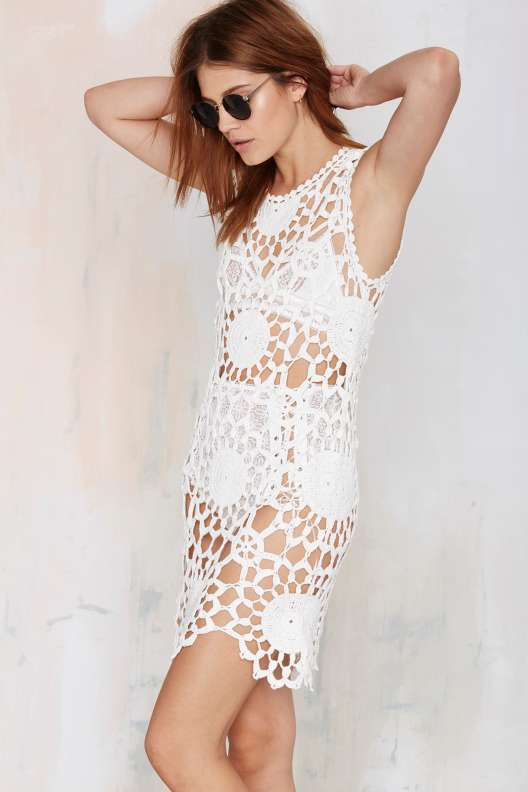 crochet white dress nasty gal