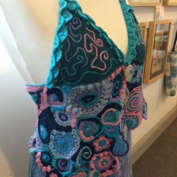 gingerbreadbunny freeform crochet and felt art piece