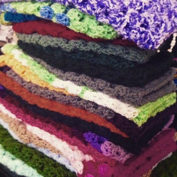 granny square crochet skeins