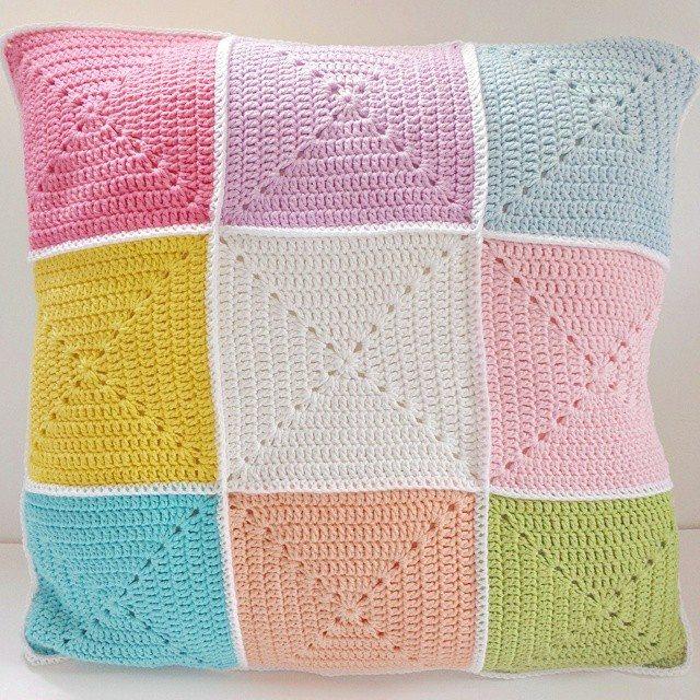 kellyandcrochet crochet colorful cushion