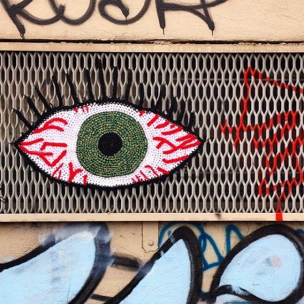 london kaye crocher yarnbomb eye