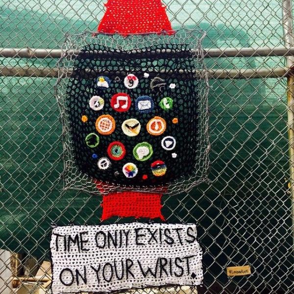 london kaye crochet apple watch yarnbomb