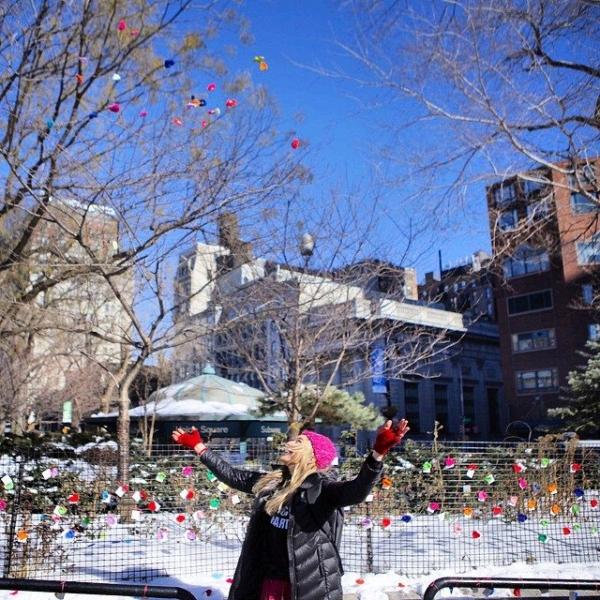 london kaye crochet hearts yarnbomb