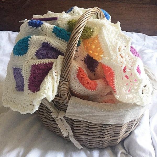 mariwish rainbow crochet blanket basket