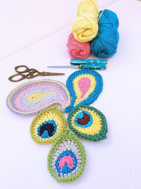 peacock crochet motif free pattern