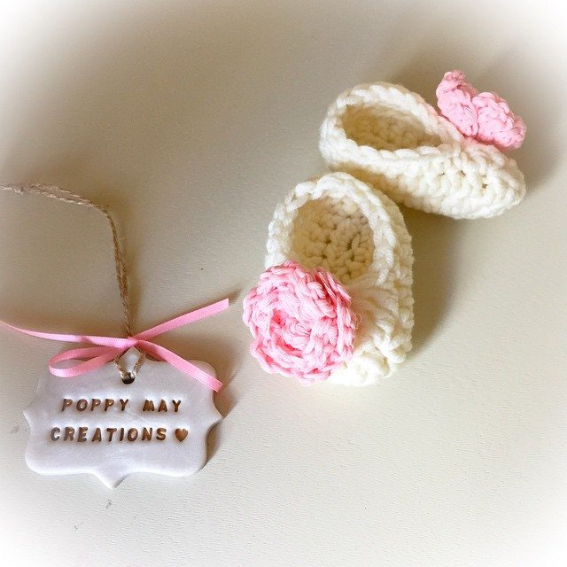 poppymaycreations crochet baby shoes