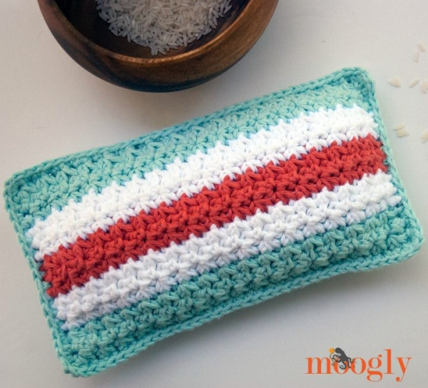 striped rice bag crochet pattern