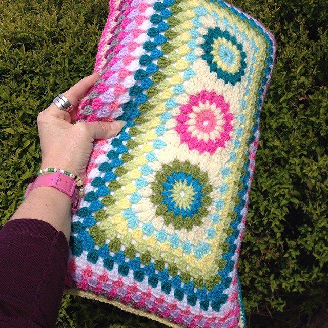 tinachalks crochet cushion granny colorful