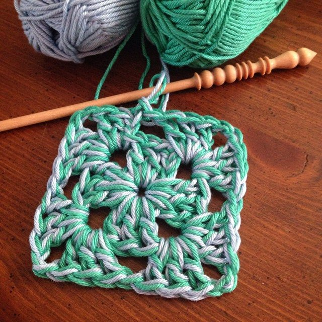 Double-stranded crochet granny square and yarn from twoplums