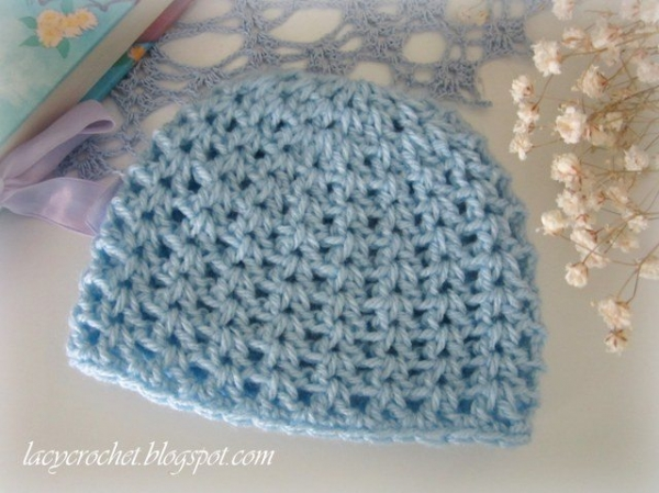 Crochet V Stitch Hat : stitch crochet newborn hat free pattern from @olaglacycrochet