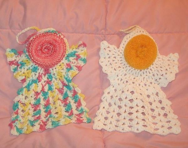 crochet angel scrubbie pattern