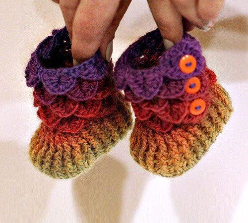 crocodile stitch crochet booties pattern
