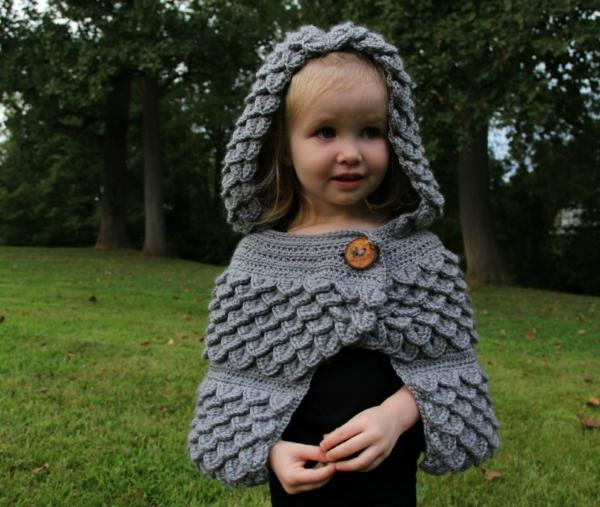 crocodile stitch crochet hooded jacket