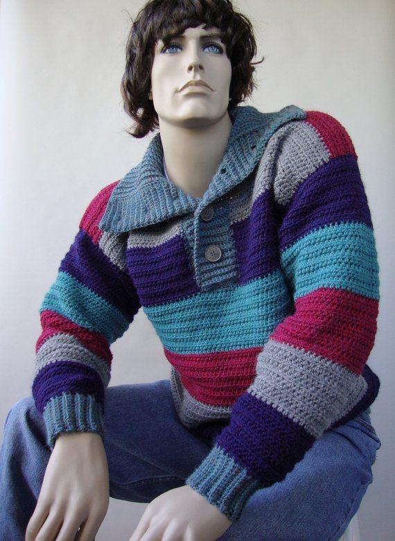 mens crochet sweater