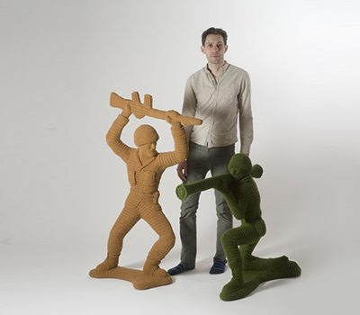 nathan vincent with crochet war art