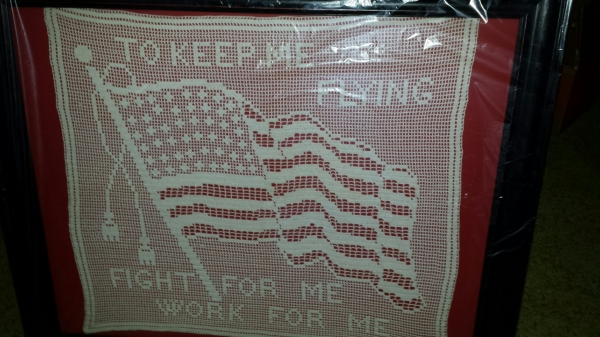 vintage filet crochet WWI flag