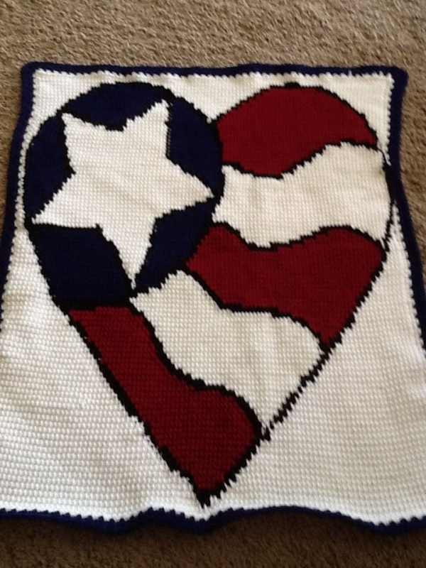 crochet flag heart pattern