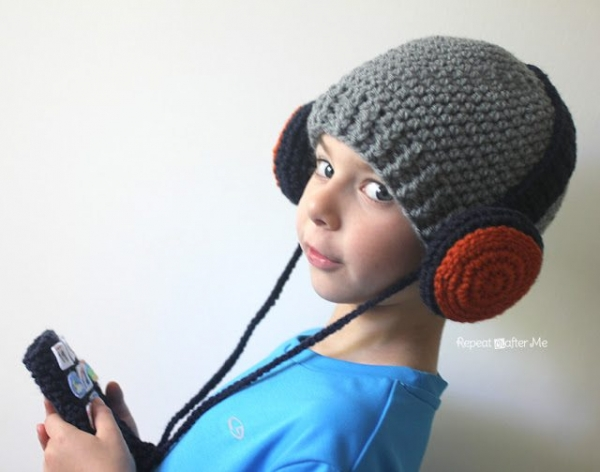 crochet headphones hat free pattern