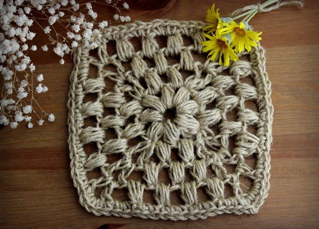 crochet puff stitch square