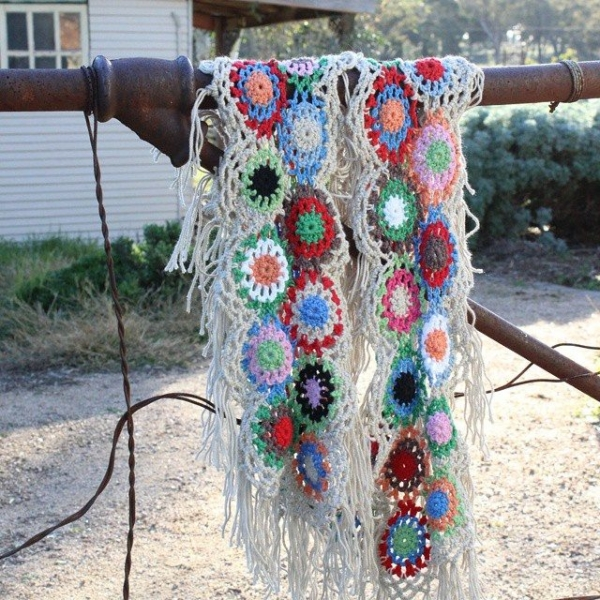 crochetgirl99 crochet flower scarf