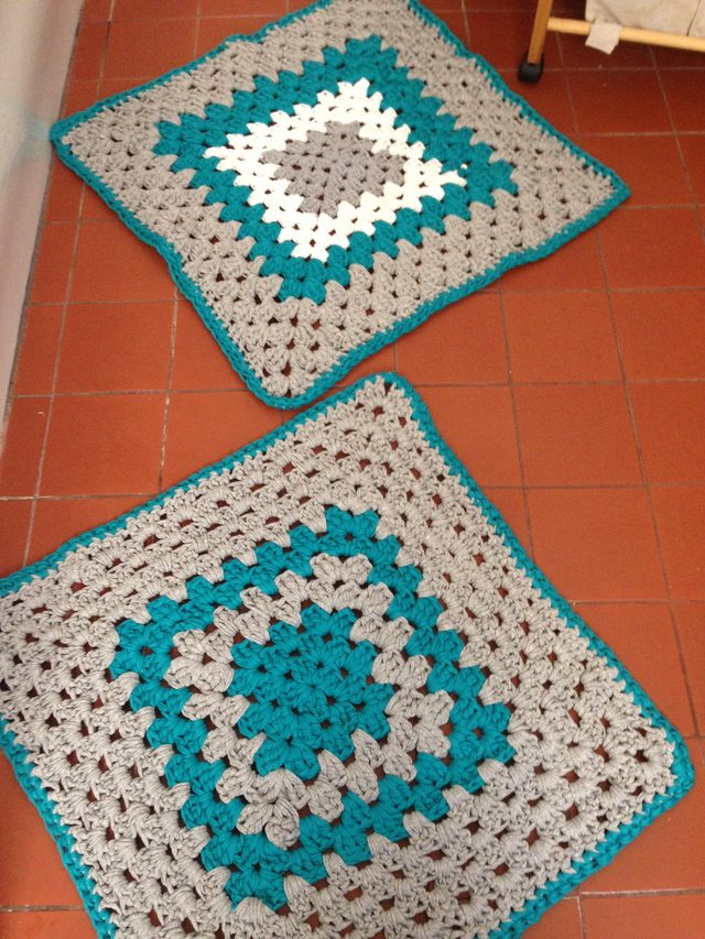 Awesome Rectangular Plush Crochet Cotton Bath Rug W Soap Bag Or Doily