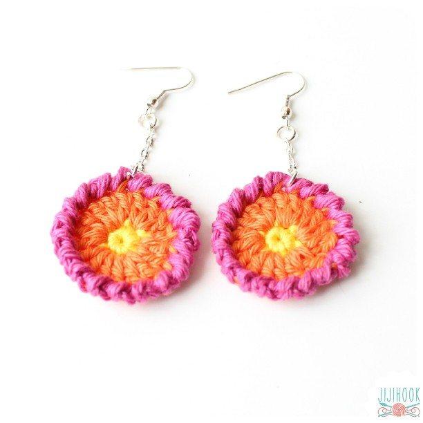 jijihook crochet flower earrings