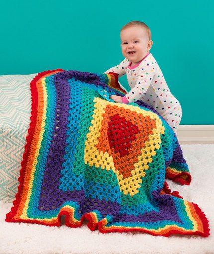 regenboog oma vierkante haken deken