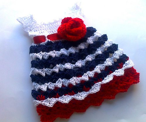 red white blue crochet baby dress pattern