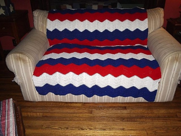rood wit blauw gehaakte deken patroon