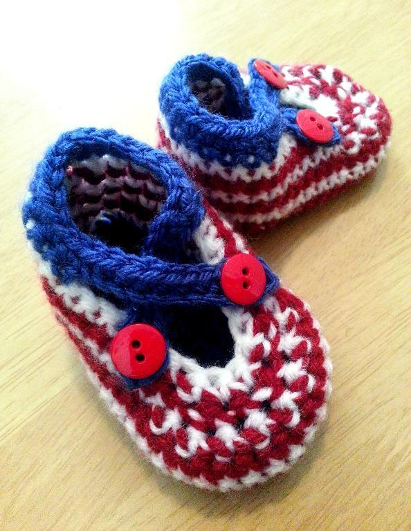 red white blue crochet booties pattern