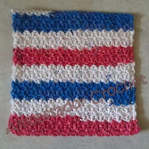 red white blue crochet dishcloth pattern