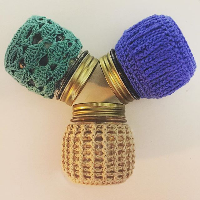 rubyjaneslane crochet jar cozies
