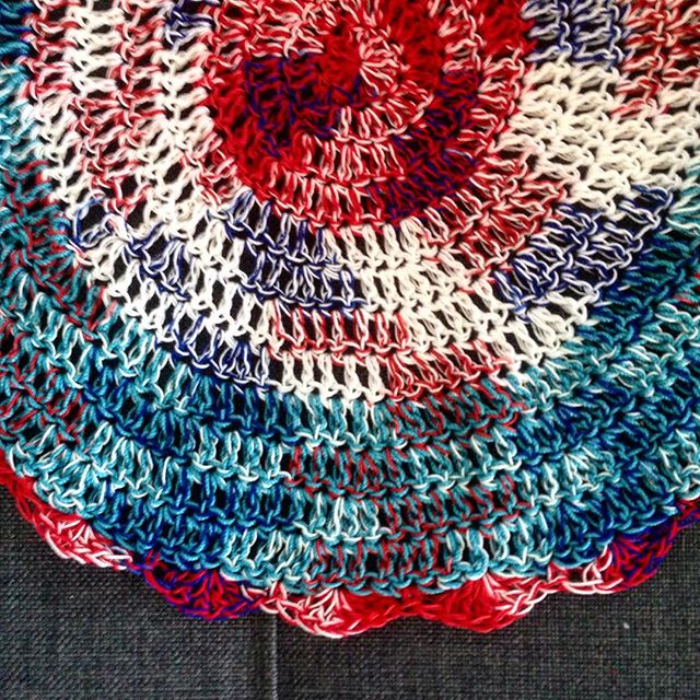 thread crochet red white blue mandala