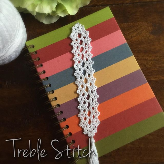 treble_stitch crochet thread bookmark