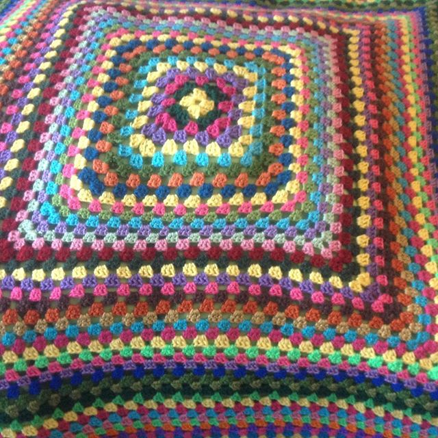 ahappycrocheter large colorful crochet granny blanket