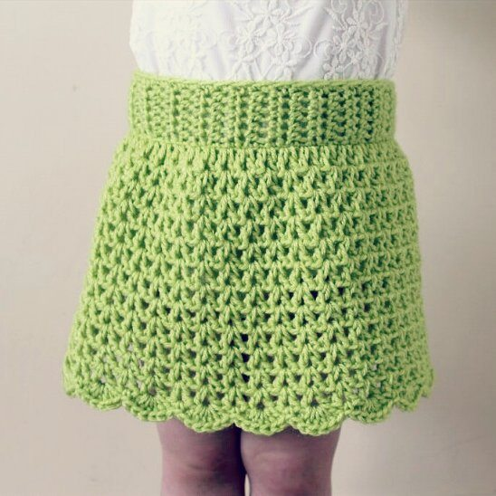 all_about_clare crochet green skirt