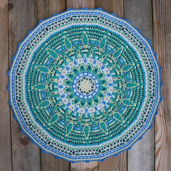 motif de mandala crochet bleu par carocreated