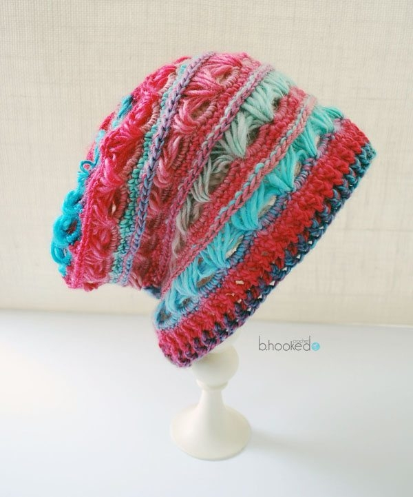 broomstick lace crochet hat