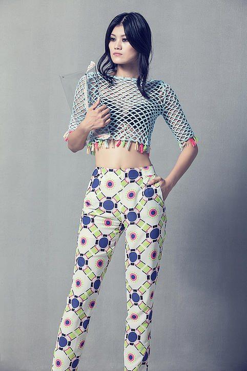 celiab fashion designer crochet openweave top