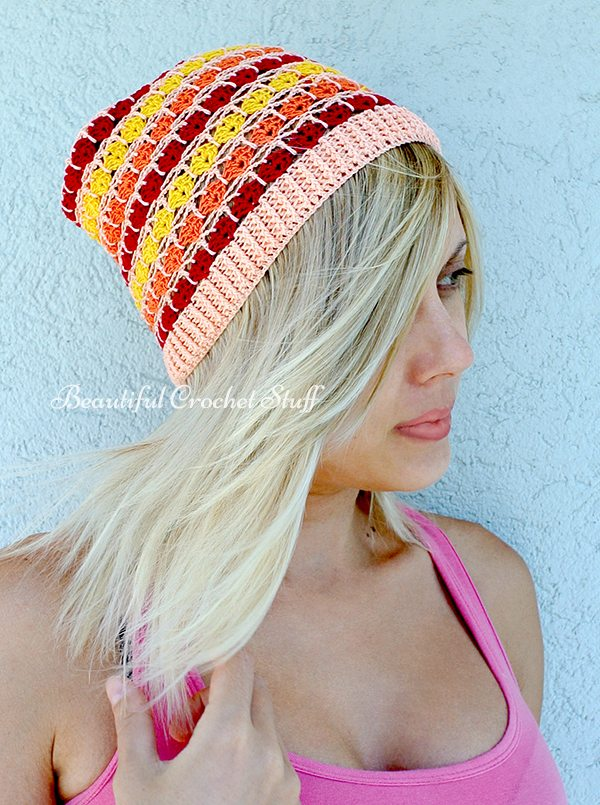 colorful crochet beanie pattern