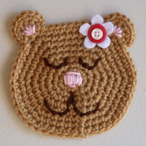 crochet bear applique freepattern