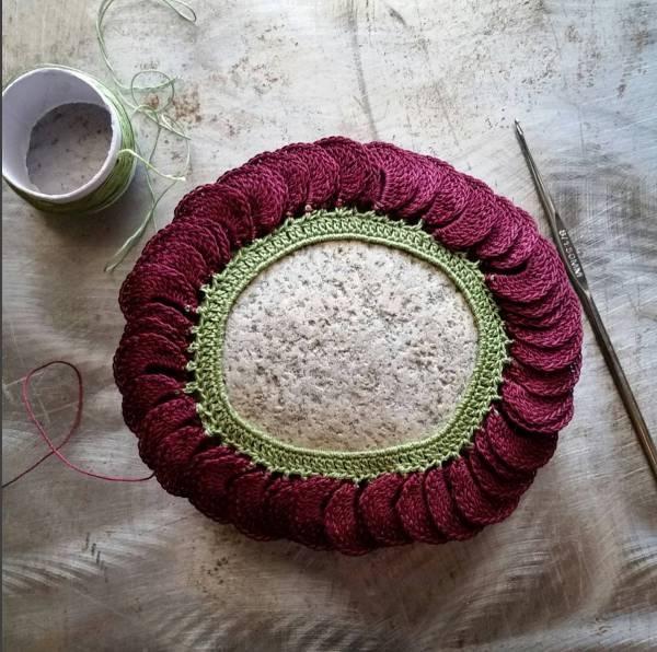 crochet covered stone art monicaj