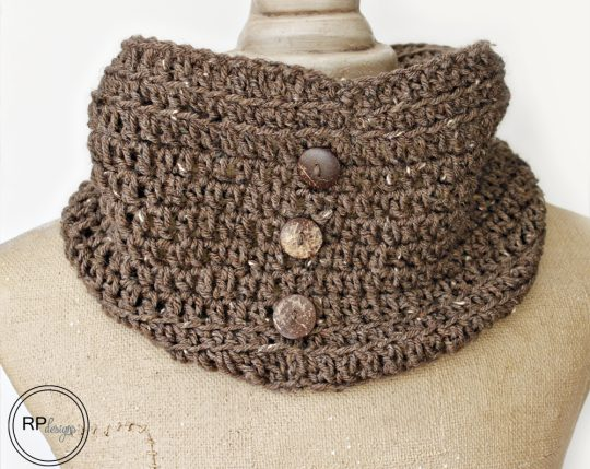 crochet cowl with buttons pattern for sale
