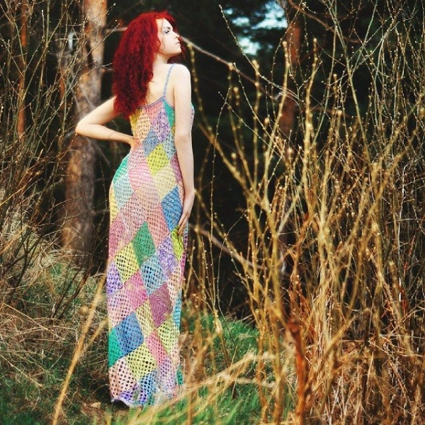 crochet diamonds fashion dress