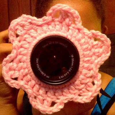 crochet flower for camera