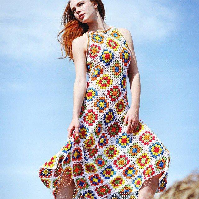 crochet granny square dress fashion
