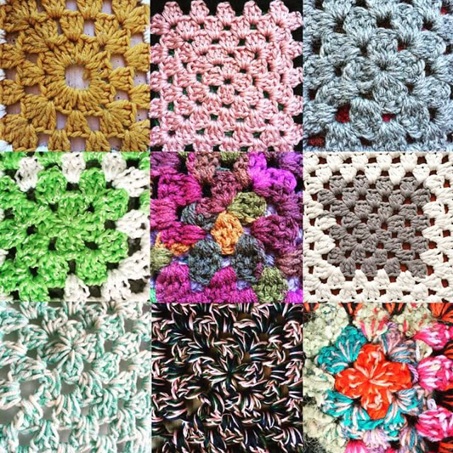 crochet granny squares set of nine