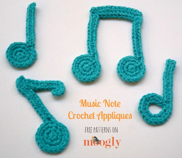 crochet music note applique patterns