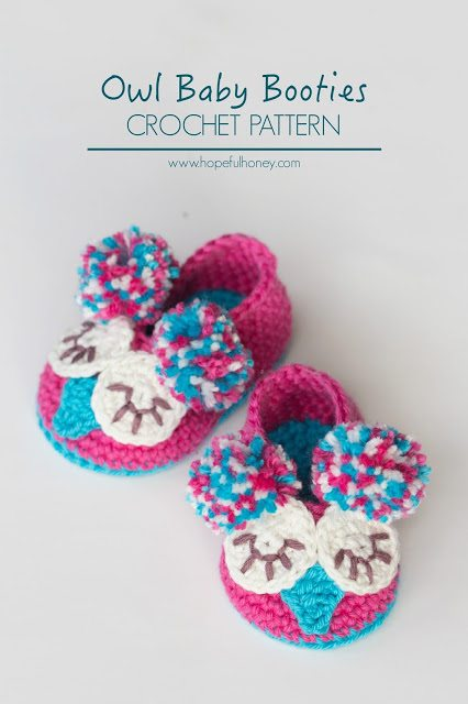 crochet owl baby booties pattern